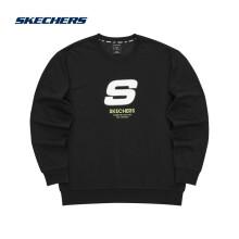 Skechers斯凯奇情侣卫衣加绒圆领套头长袖上衣男女同款L321U139/L321U140 L321U139-0018碳黑 XXL