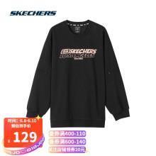 斯凯奇Skechers运动宽松卫衣女子针织圆领套头衫L320W206 碳黑0018 XL