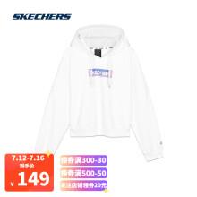 Skechers斯凯奇LOGO印花连帽衫时尚运动卫衣女子套头衫L320W208 亮白色0019 M