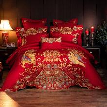钱皇贡缎刺绣棉婚庆四件套大红色新婚喜被套件棉床上用品 龙凤盛宴 200x230cm