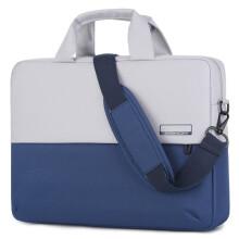 英制BRINCH 电脑包15.6英寸苹果华为小米联想戴尔惠普通用款撞色单肩手提包防泼水防震 BW-249 厚款蓝色