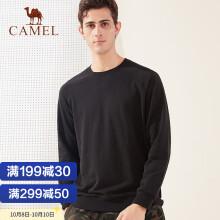 骆驼(CAMEL) 运动卫衣男女休闲服圆领套头衫宽松情侣装长袖上衣 C0W2ULD634 男款黑色 M
