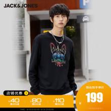 JackJones杰克琼斯男潮流卡通小狗图案圆领套头卫衣220333094 E40黑 180/100A/L