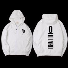 滕讯体育同款波特兰开拓者利拉德同款0号纪念篮球运动服保暖拉链连帽开衫卫衣 白-1 S