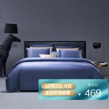 京东超市富安娜家纺 HOTEL系列 四件套60S长绒棉纯棉贡缎酒店床品套件 罗马情怀1米8/2米床(230*229cm)蓝