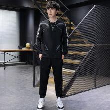 睿顺鑫春秋季2021卫衣两件套男休闲运动搭配帅气潮流印花圆领套装 S806黑色 M 80-95斤