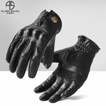 外星蜗牛V8摩托车手套复古羊皮触屏骑行手套男防摔骑士装备四季 黑色 S
