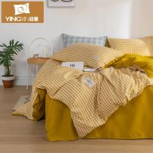 迎馨家纺 三件套床单被套单人床上用品学生宿舍三件套床品套件被罩3件套 布丁黄