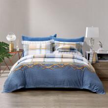 京东超市 富安娜家纺 床上用品四件套纯棉全棉床品套件 单双人英伦风中性条纹床单被套 射手座1米8床(230*229cm)蓝色 汉塞尔/蓝(21新品)