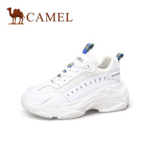 骆驼(CAMEL) 女士 酷感新意撞色织带厚底老爹鞋 A91525642 白色 38