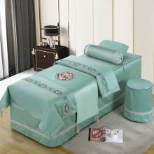 【GEMEITI 厂家直发】新款高档美容床罩四件套意大利绒 按摩床套 床单床裙全棉定做 浅绿 四件套185X70园头