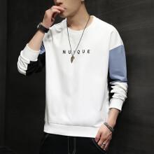 公子雪2021年秋季新款男士长袖休闲时尚韩版青年圆领宽松拼色印花卫衣男 JAG1611白色 M