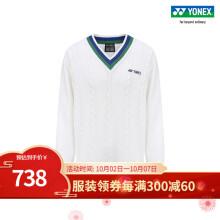 YONEX/尤尼克斯 羽毛球服 30074AYX 75周年复古系列男女同款运动上衣 白色 XO