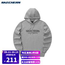【时代少年团同款】Skechers斯凯奇男女同款宽松简约刺绣logo连帽卫衣明星同款 L421U129-00RP花灰色 L