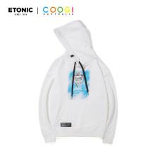 Etonic联名款连帽卫衣情侣套头衫男女同款潮流休闲衣 白色 S