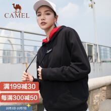 骆驼(CAMEL)卫衣男女连帽潮嘻哈宽松帽衫韩版ins学生套头外套 C9W12L3640 女款黑色 L