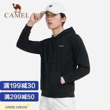 骆驼(CAMEL) 运动卫衣男纯色长袖连帽宽松休闲情侣套头上衣 C0W29L6930 男款黑色 L