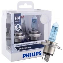 飞利浦(PHILIPS)璀璨之光H4升级型汽车灯泡大灯灯泡近光灯远光灯卤素灯2支装 增亮60%时尚白光