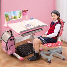 生活诚品台湾原装儿童书桌儿童学习桌椅套装可升降书桌学生写字桌 MT8805P(配303) 粉色儿童学习桌