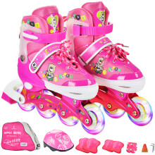 乐士Enpex溜冰鞋儿童男女成人套装轮滑鞋可调节滑冰鞋旱冰鞋直排轮八轮全闪 MS172 S码 粉红 赠护具头盔