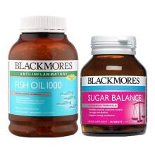 【包税】澳洲BLACKMORES澳佳宝 血糖平衡片90粒调节血糖胆固醇 血糖平衡片1瓶+鱼油1瓶 保税仓