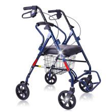 泰康助行车老年手推车老人推车可推可座轻便折叠带轮购物老年家用买菜车能做椅子四轮轮椅助行器轻便加宽加大 新升级 带脚踏板座椅加宽加厚