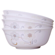 乐享 米饭碗汤碗大面碗陶瓷餐具套装碗具 面碗4件装白金花语