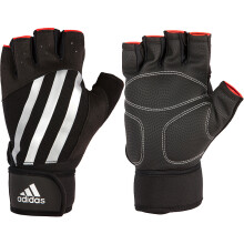 阿迪达斯adidas健身手套 半指加长护腕款 男女哑铃器械训练引体向上硬拉助力带 黑色L码