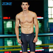 洲克 ZOKE男士五分大码专业训练泳裤成人加肥加大沙滩平角游泳裤LL2536971 深灰/大红 L