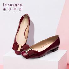 莱尔斯丹 le saunda 单鞋女 通勤圆头搭扣蝴蝶结套脚低跟 LS 9T22901 深紫色 34