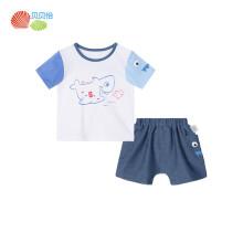 贝贝怡男女童短袖套装2019夏季新款宝宝纯棉上衣牛仔短裤 米白9个月/身高73cm