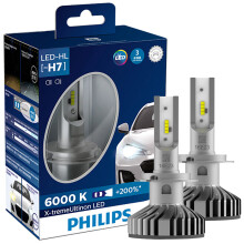 飞利浦(PHILIPS)极昼光LED H7汽车灯泡大灯近远光灯2支装增亮200%白光6000K 360°可旋式光型校准盘快装