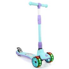美洲狮(COUGAR)儿童滑板车加宽四轮全闪踏步车 MHBC011 薄荷蓝