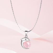 石头记(istone)粉水晶项链女海豚抱珠时尚吊坠925银锁骨链送女友节日礼物