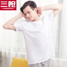 京东超市三枪  三枪男T恤柔棉圆领打底短袖宽松透气棉质男士汗衫 特白 XL