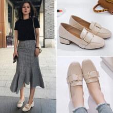 ZGR单鞋女韩版搭扣小皮鞋女学生百搭乐福鞋女鞋 米色 35