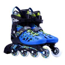 美洲狮(COUGAR )成人可调码数轮滑鞋直排轮溜冰鞋 黑蓝M码