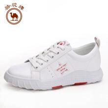 骆驼牌 小白鞋女休闲系带平底运动板鞋透气 W91523504 白红 38/240码