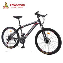 凤凰 Phenix 凤凰自行车山地车24速变速双碟刹男女成人公路车26寸单车 黑红