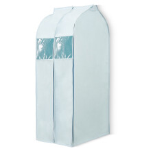 百草园立体可视防尘罩衣服 西服防尘袋衣罩 大号2枚装 淡雅蓝 加厚 挂衣袋挂式整理袋
