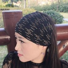 TJP  包头宽边发带女头巾头带遮白发发箍宽洗脸蕾丝透气条纹高弹力头套 黑色