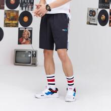 特步男子运动裤新品吸湿宽松运动短裤 男子轻薄简约五分裤881229679016 黑兰 XL