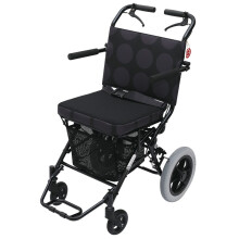 中进轮椅NA-412/NA-413折叠轻便老人轮椅超轻便携式可上飞机简易旅行老年人旅游手推车代步车 NA-412黑色圆点
