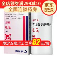 德巴金 丙戊酸钠缓释片 赛诺菲(杭州) 0.5G*30片 德巴金 一盒
