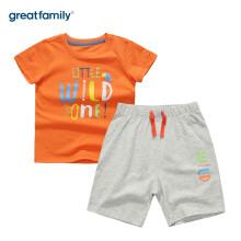 歌瑞家(greatfamily)婴儿短袖套装夏季纯棉外出宝宝衣服男女儿童短袖T恤短裤 混色110码