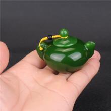 博皓玉翡缘玉器和田玉碧玉手壶把件菠菜绿碧玉壶手玩件水酒壶小