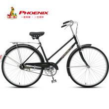 凤凰 Phoenix 自行车26寸轻便普通成人男女老式复古通勤单车女款QF65 黑色