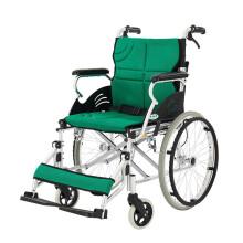 泰康老年轮椅折叠老人轻便手动残疾人轮椅家用旅行可上飞机铝合金小轮免充气可折叠 31A(大轮)绿色坐垫