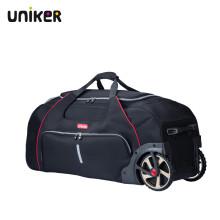 uniker旅行包长途旅行商务大容量行李箱男女健身包纯色可拉大轮子手提袋 黑色