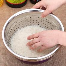 美厨(maxcook)米筛菜盆304不锈钢 加厚加大沥水盆淘米洗菜洗水果盆 26cm(MCWA859)